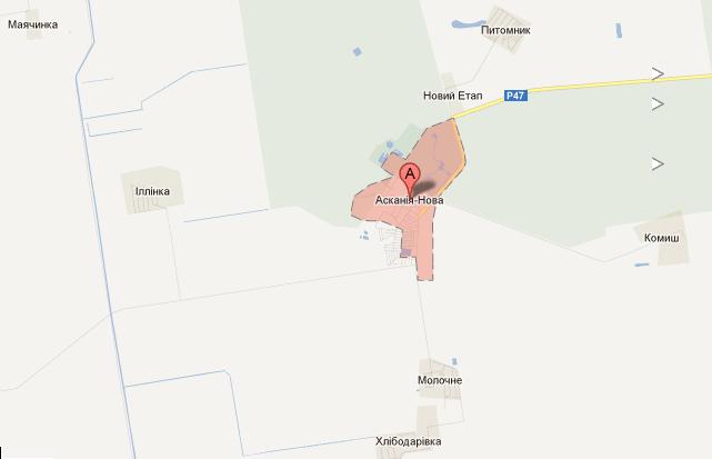 Аскания-Нова на карте